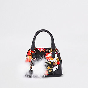 Girls black floral faux fur tote bag