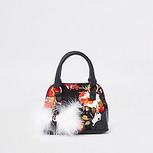 Zwarte handtas met bloemen voor meisjes