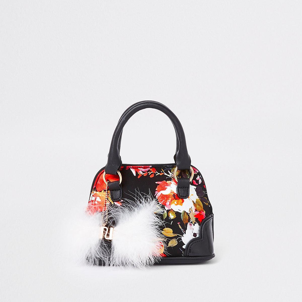 Girls black floral faux fur tote bag