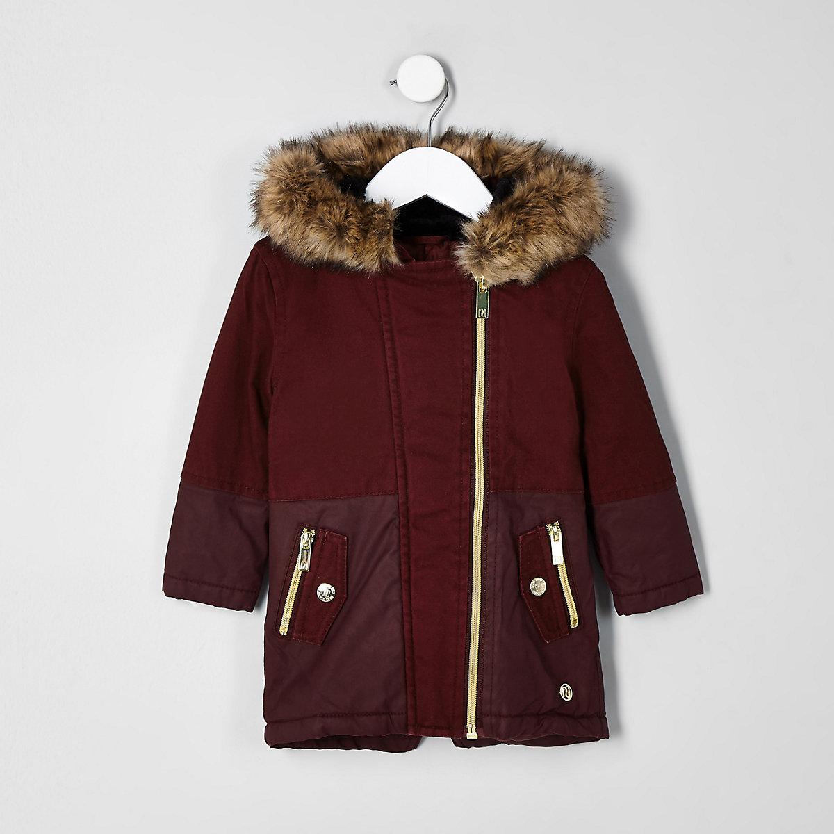 Mini girls red faux fur trim parka jacket