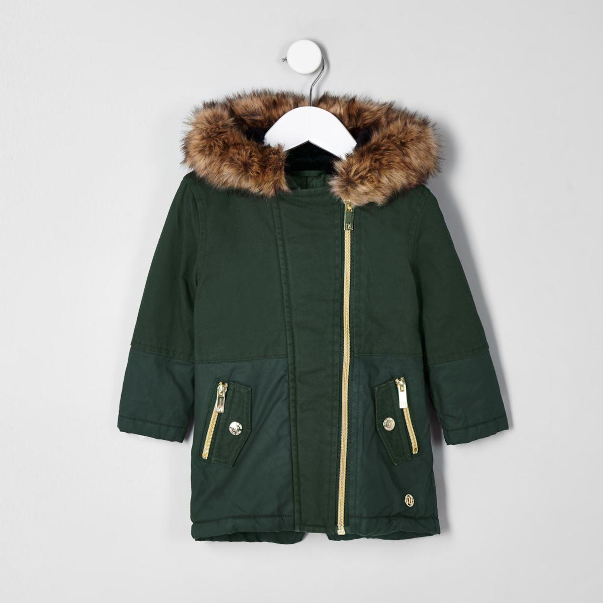 Girls mini khaki faux fur trim parka jacket