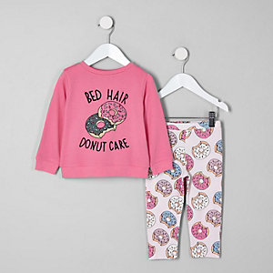 Ensemble de pyjama à inscription « Bed hair » rose mini fille