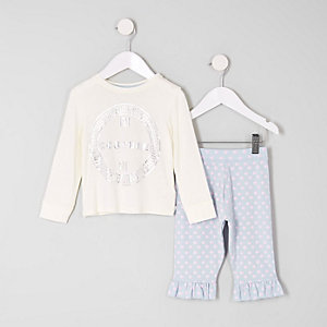 Ensemble avec t-shirt «couture» blanc mini fille