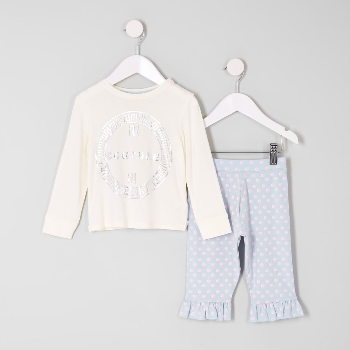 Mini girls white 'couture' pajama set