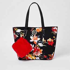 Girls black floral faux fur purse shopper bag