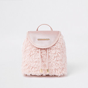 Girls pink faux fur drawstring backpack