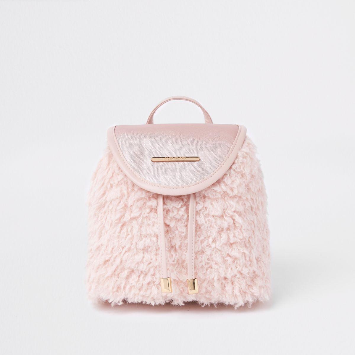 Girls pink faux fur drawstring backpack