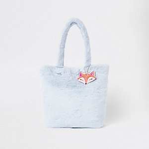 Girls blue faux fur shopper bag