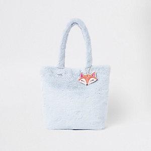 Blaue Shopper-Tasche mit Kunstfell
