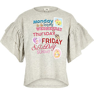 Girls grey weekday frill sleeve T-shirt