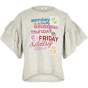 T-shirt jour de la semaine gris avec manches à volant pour fille