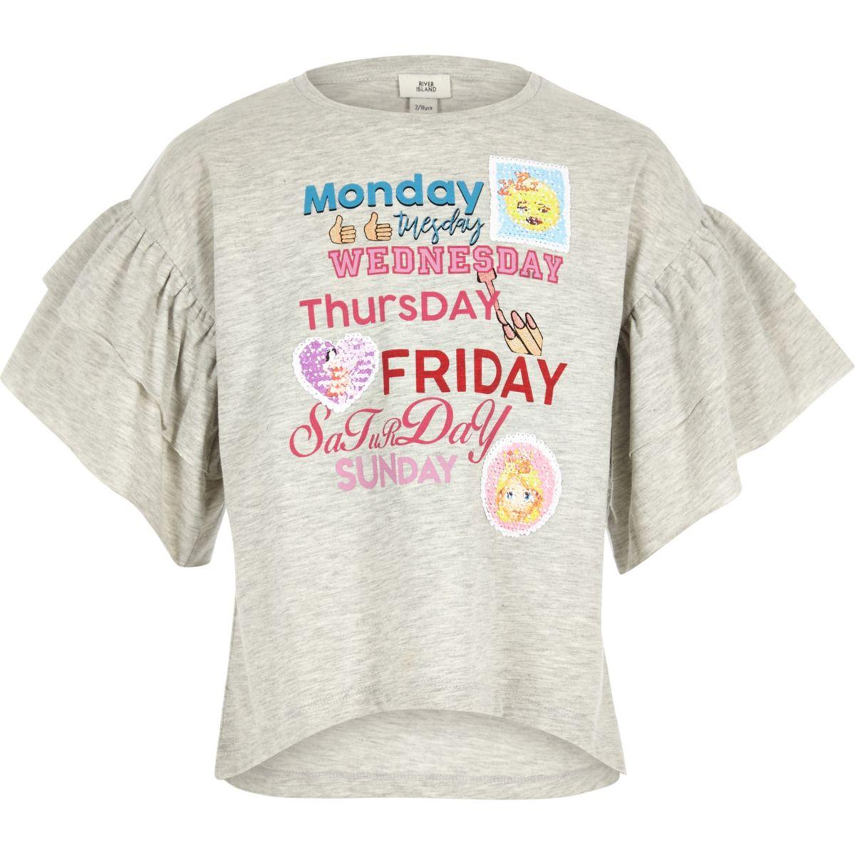 Girls grey weekday frill sleeve T-shirt