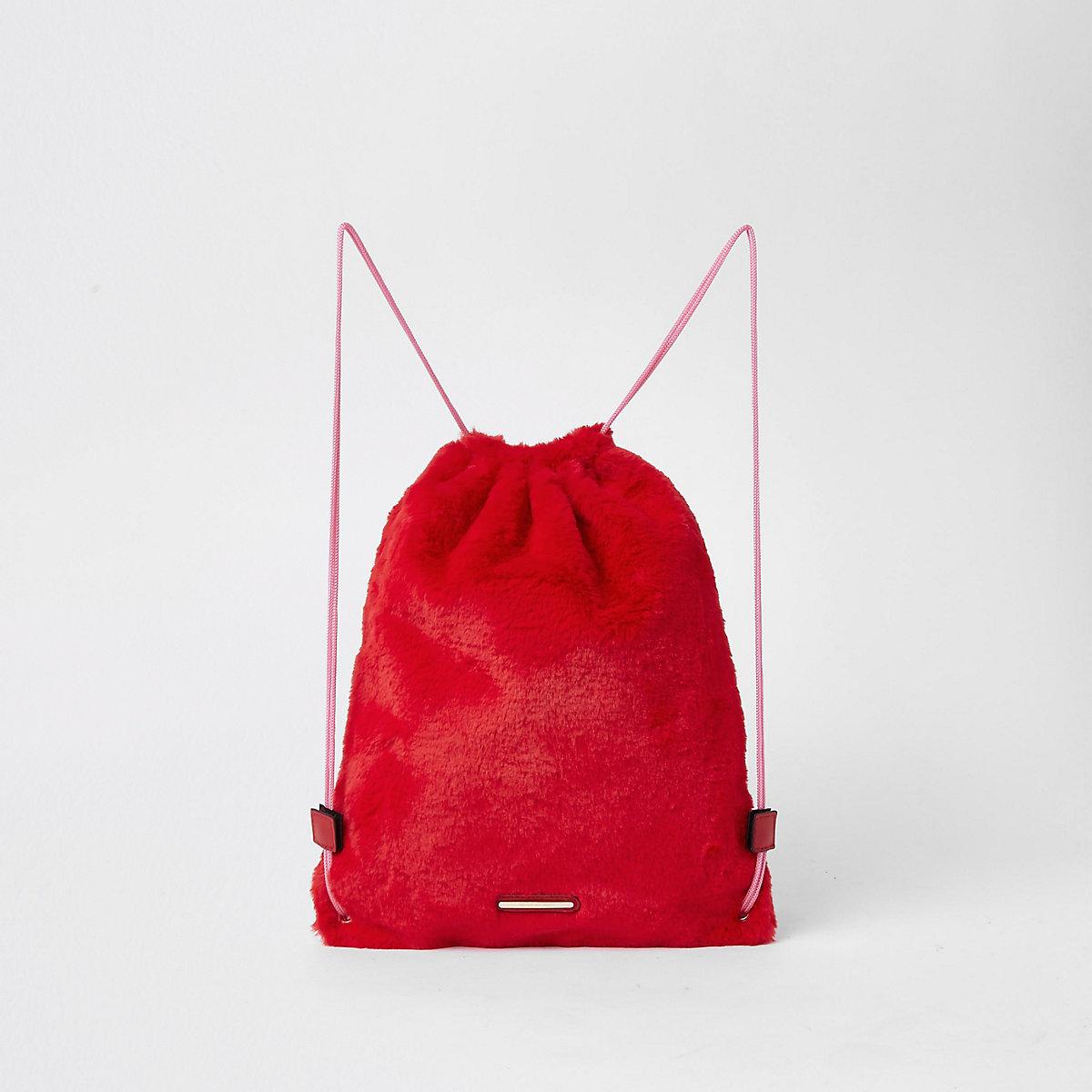 Girls red faux fur drawstring backpack