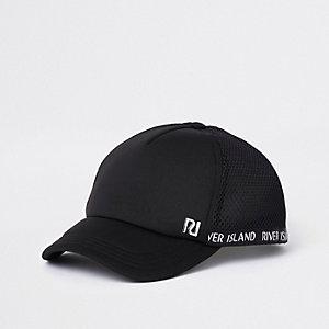 Mini - Zwarte mesh baseballpet met RI-logo voor meisjes