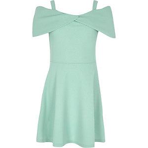 Girls mint green waffle bow bardot dress