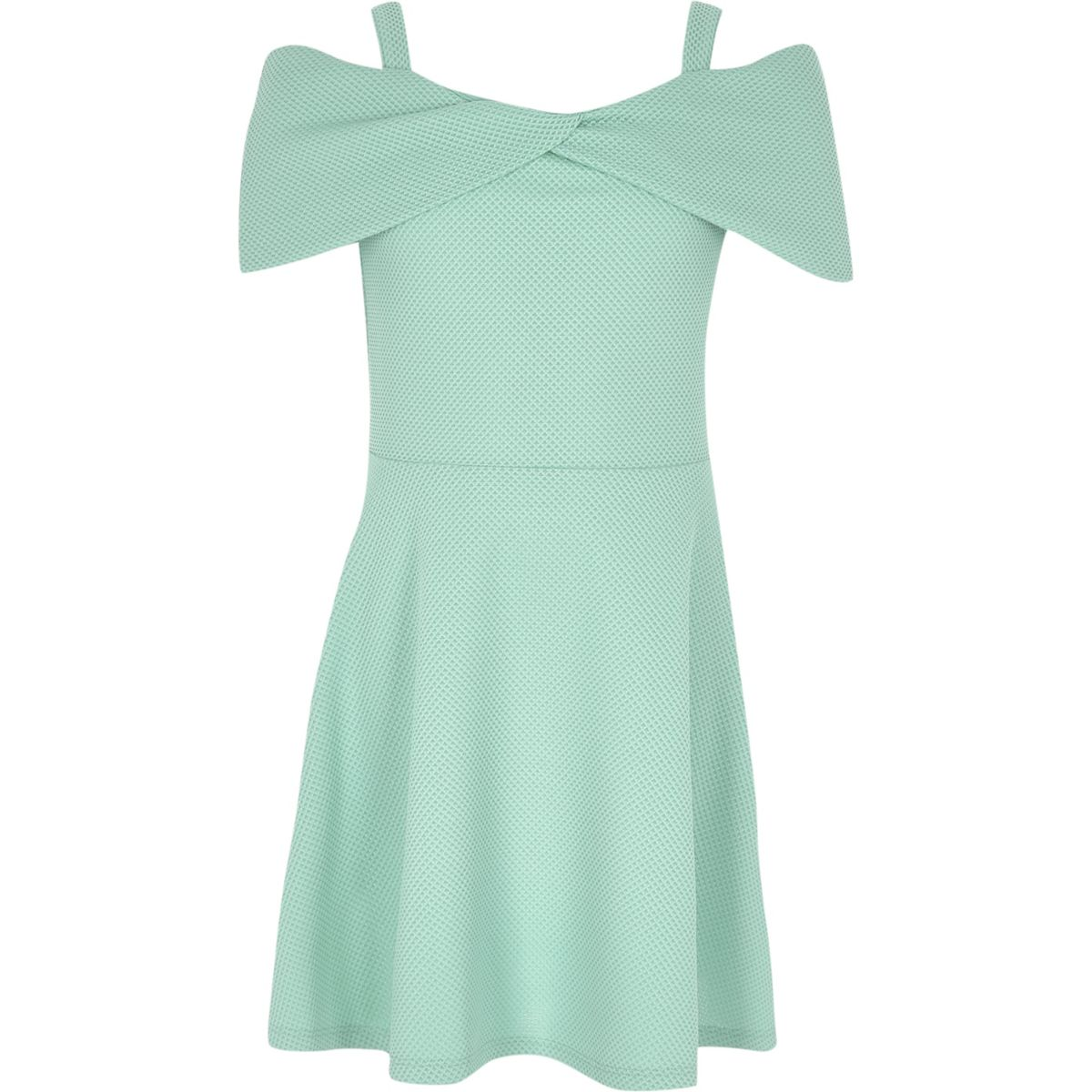 Girls mint green waffle bow bardot dress