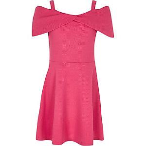 Girls pink waffle bardot dress