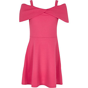 Bardot-Kleid mit Waffelmuster in Rosa