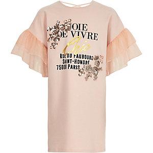 Roze verfraaide T-shirtjurk met ruches voor meisjes