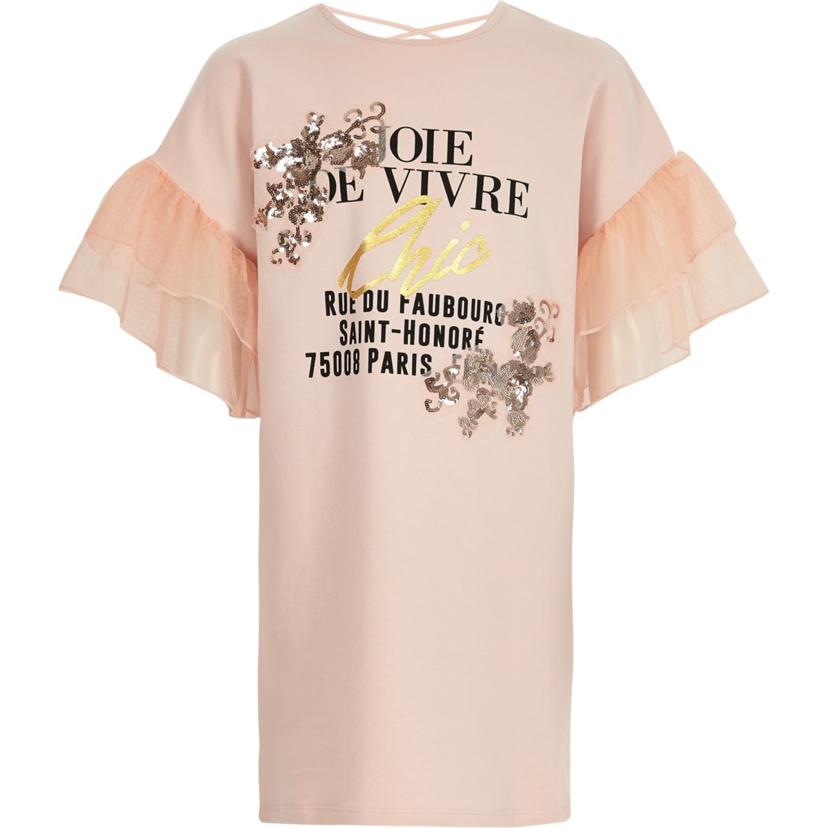 Robe t-shirt rose ornée à volants pour fille