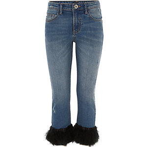 Girls blue straight leg feather hem jeans
