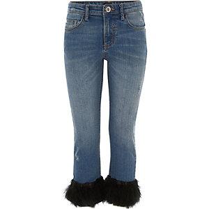 Blauwe jeans met rechte pijpen en veren aan de zoom voor meisjes