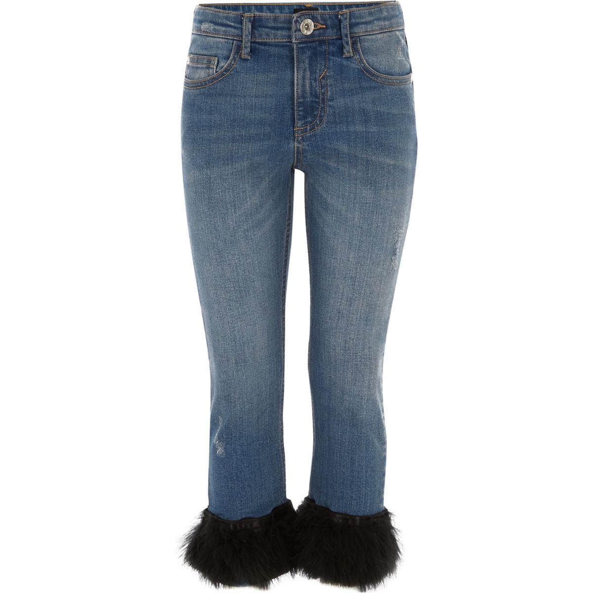 Girls blue straight leg feather hem jeans