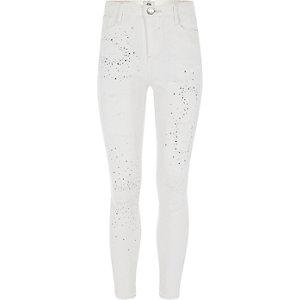 Amelie – Weiße, verzierte Jeans