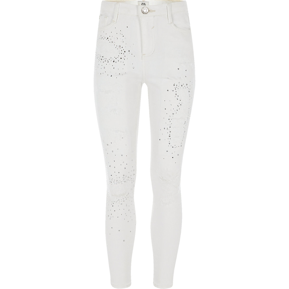 Girls white Amelie embellished jeans