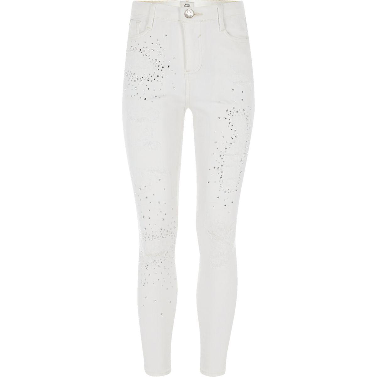 Girls white Amelie embellished jeans