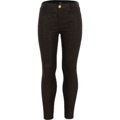 Girls Black Glitter Coated Molly Jeggings by River Island