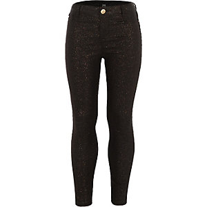 Girls black glitter coated Molly jeggings