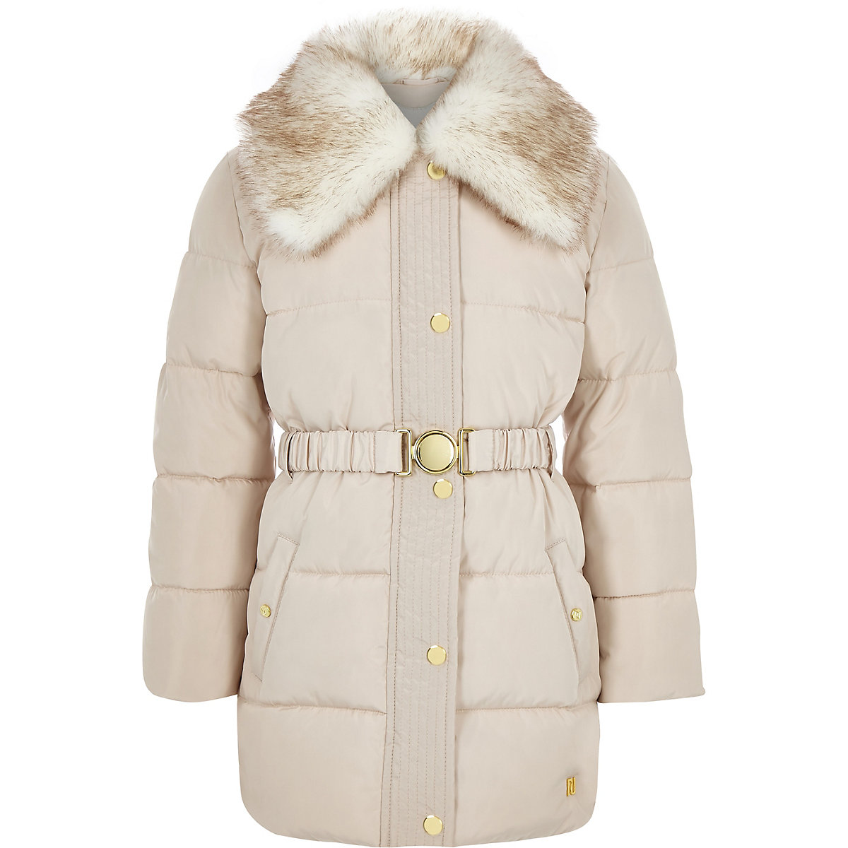 Girls cream faux fur collar belted coat