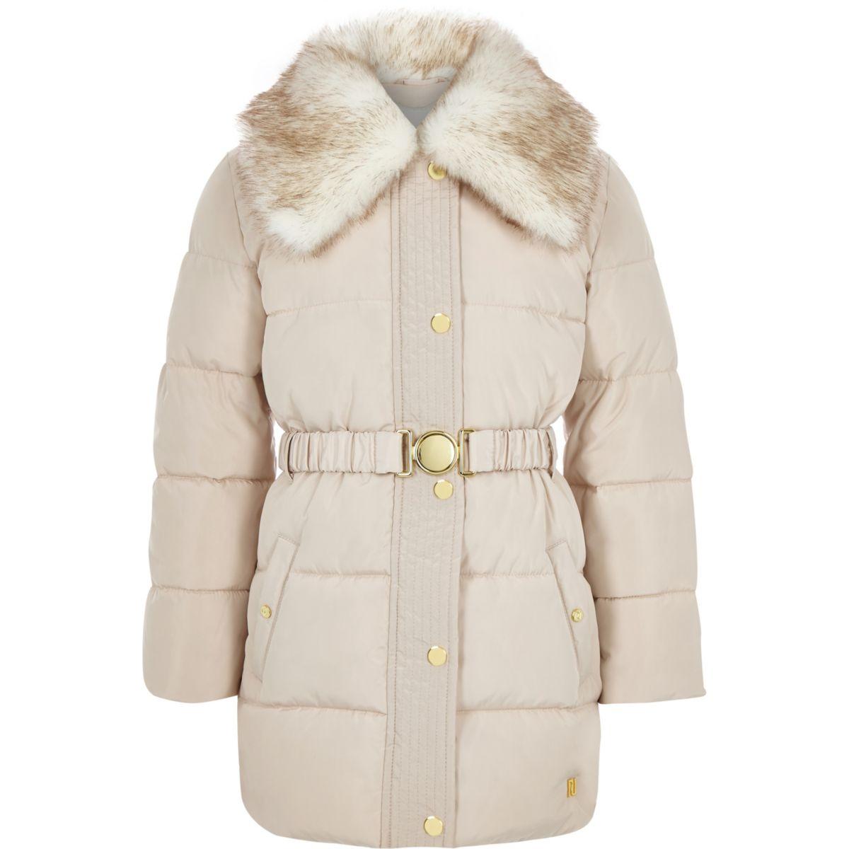 Girls cream faux fur collar belted coat