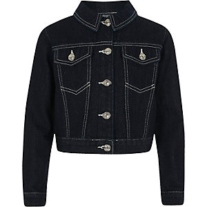 Girls dark blue boxy crop denim jacket