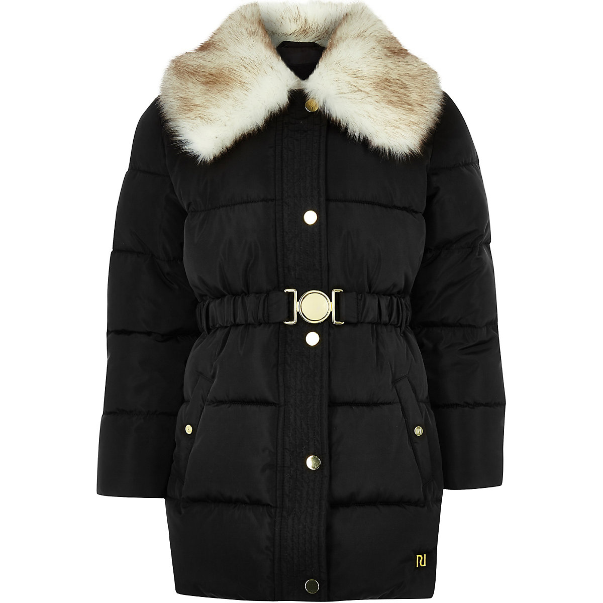 Girls black faux fur collar belted coat