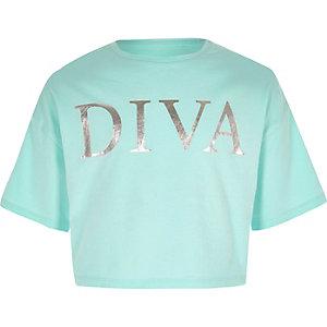 Lichtblauw cropped T-shirt met 'Diva'-print voor meisjes