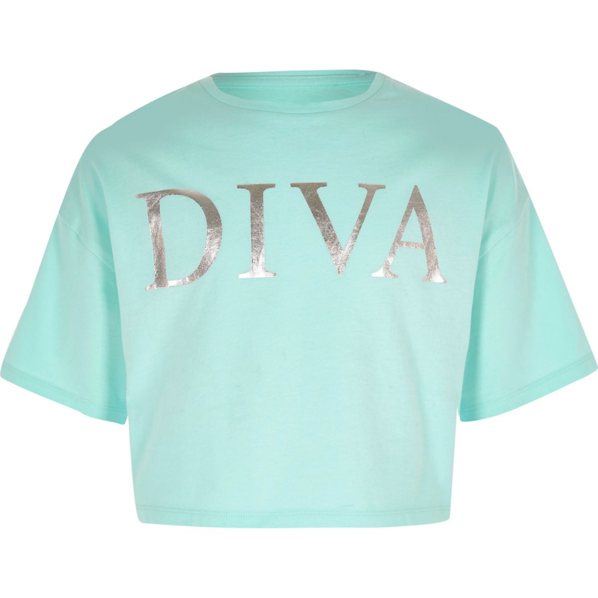 Girls light blue 'Diva' cropped T-shirt