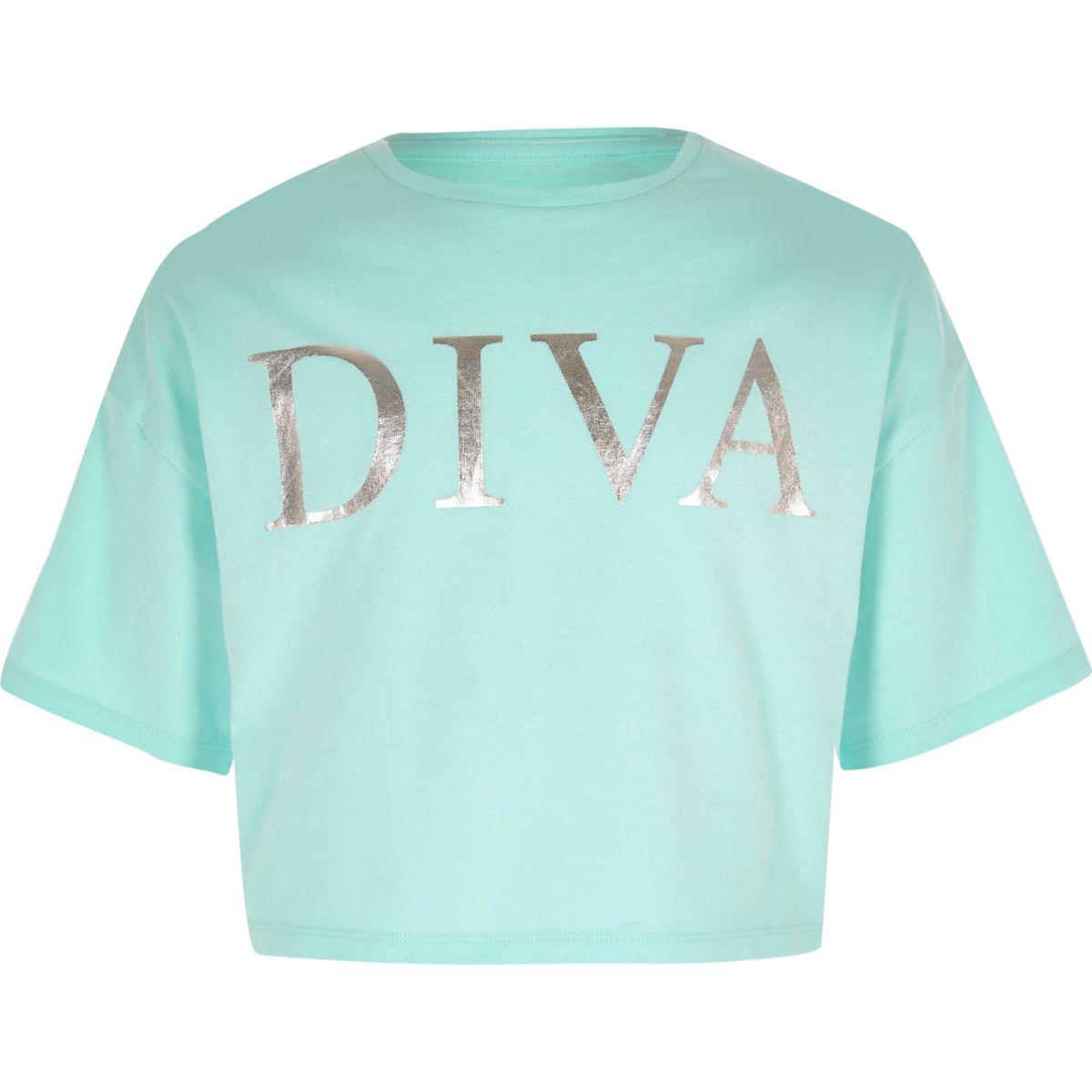 T-shirt court bleu clair « Diva » pour fille