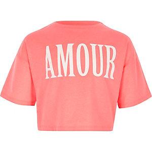 Koraalrood cropped T-shirt met 'amour'-print voor meisjes