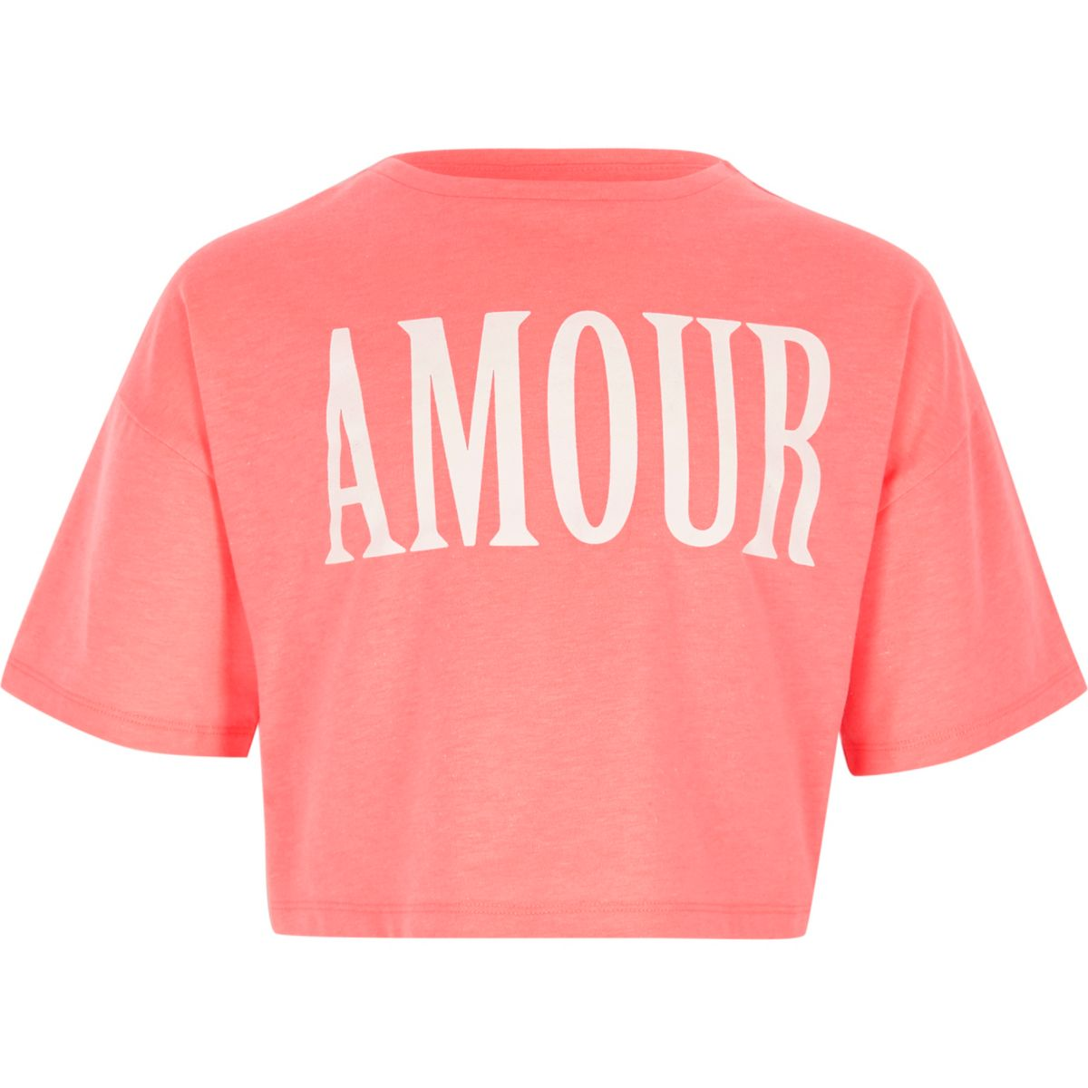 Girls coral 'amour' print cropped T-shirt