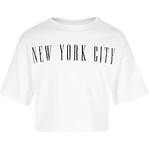 Girls white 'New York City' cropped T-shirt