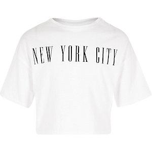 Wit cropped T-shirt met 'New York City'print voor meisjes