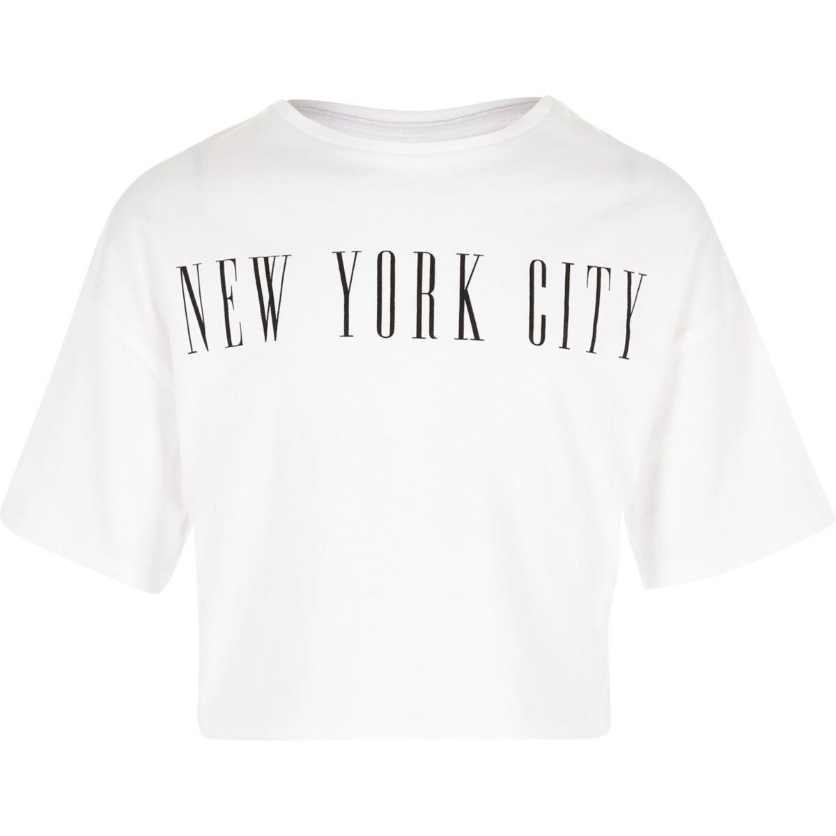 Girls white 'New York City' cropped T-shirt
