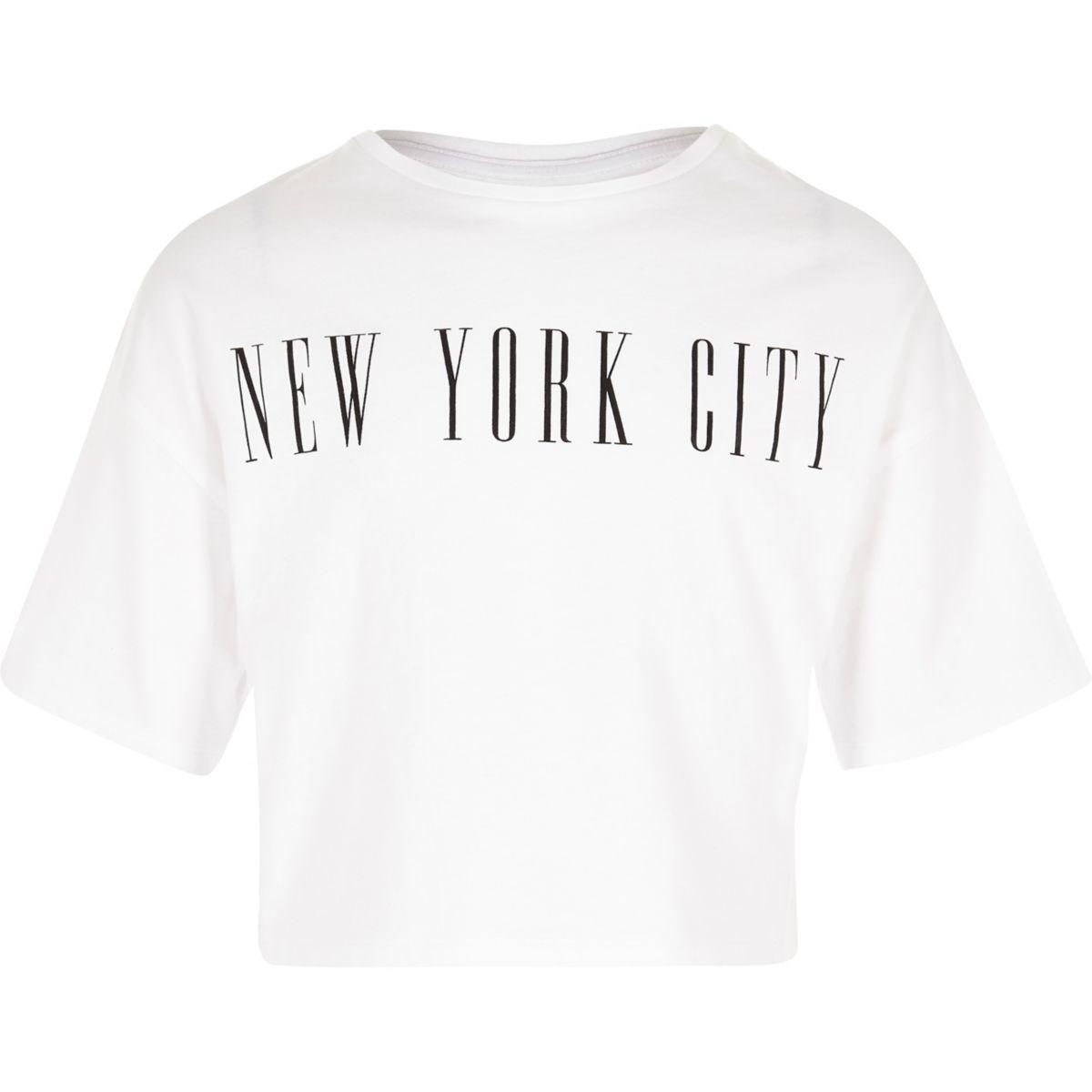 T-shirt court blanc « New York City » pour fille