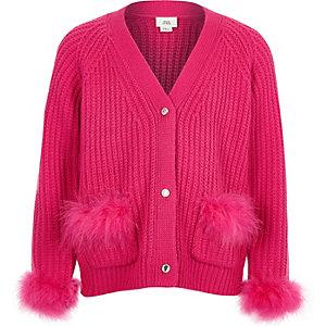 Cardigan en maille rose à plumes pour fille