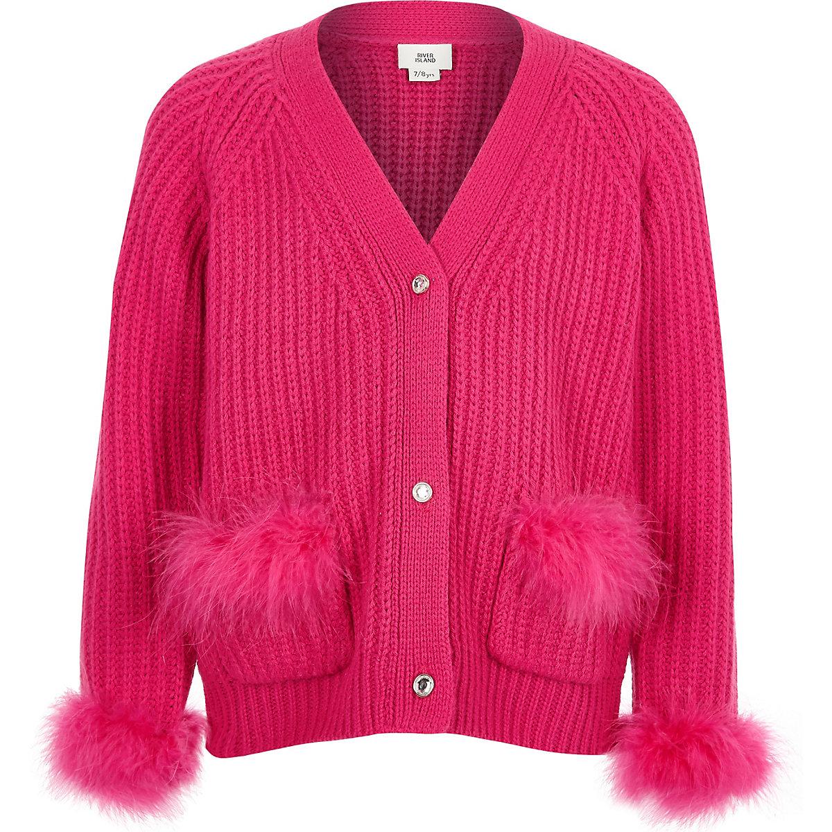 Girls pink feather trim knit cardigan