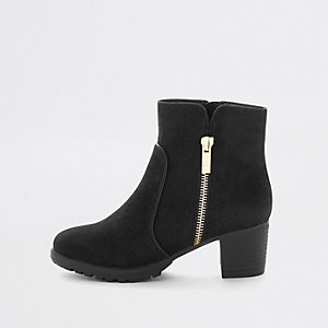 Girls black zip detail heeled boots