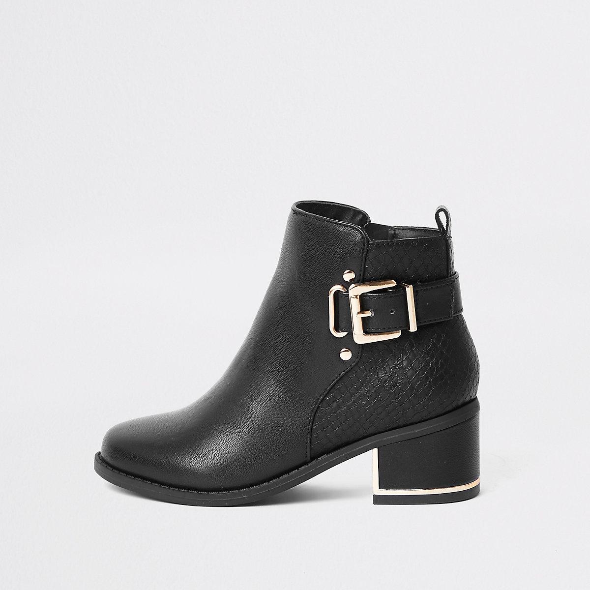 Girls black buckle heeled boots