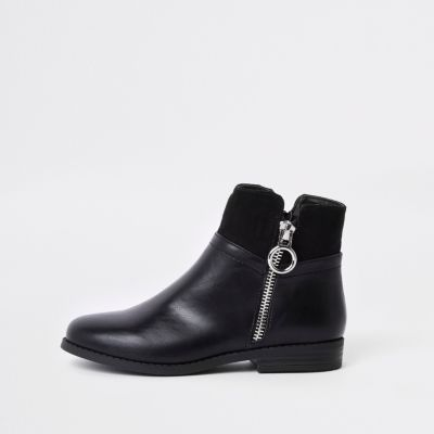 Girls Black Zip Side Boots by River Island